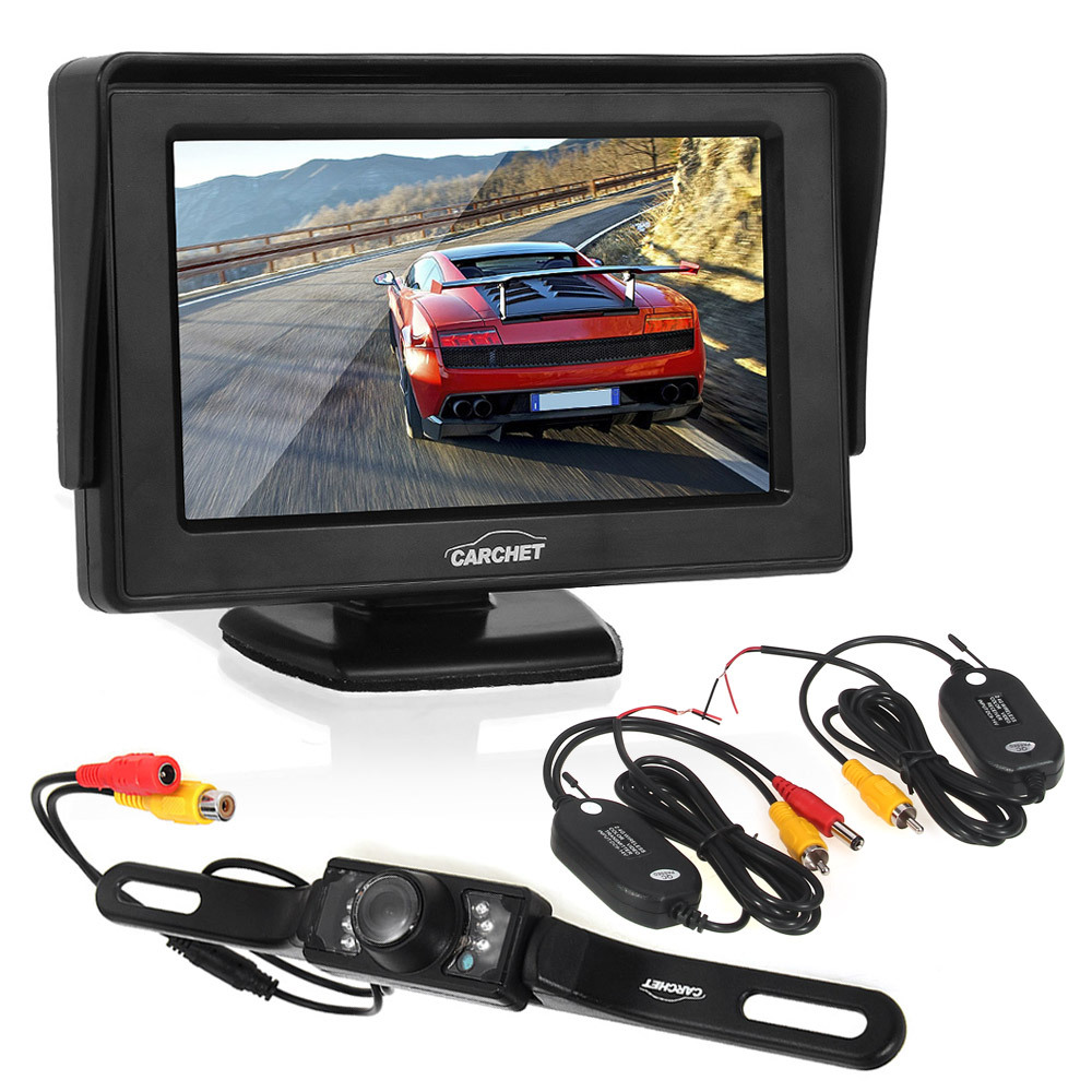 "4.3"" LCD Monitor Car Rearview Camera Wireless  7 LED avec Tr"