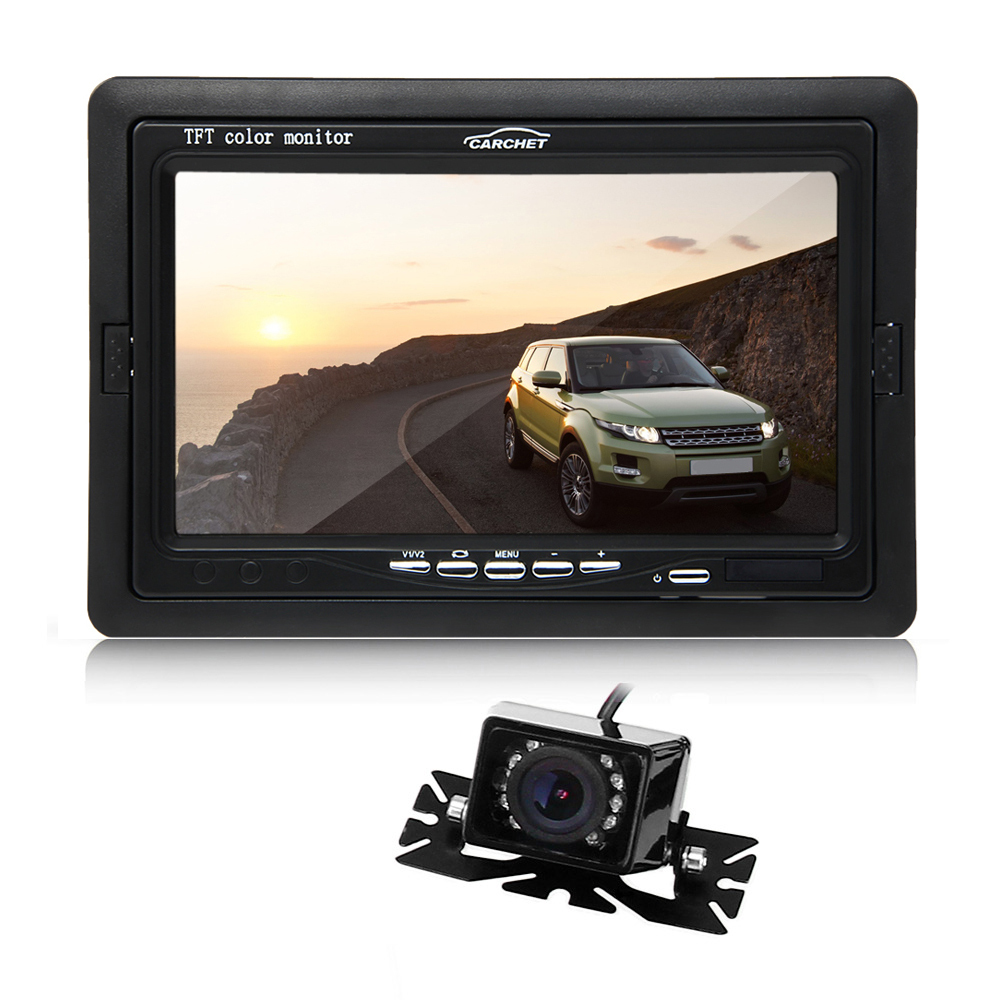 "7"" TFT LCD Car Monitor IR Rear View Reverse Backup 9 LED Nig"