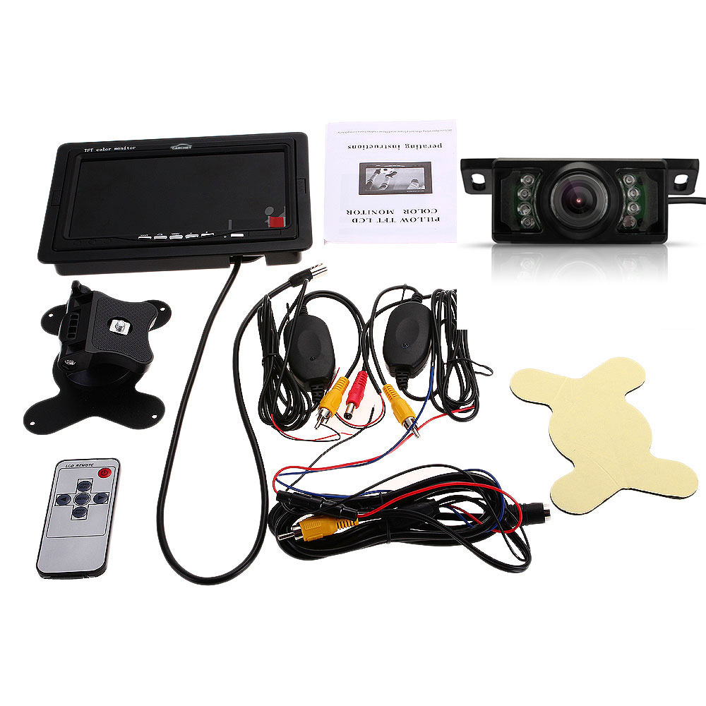 "7"" TFT LCD Car Rearview Reverse Monitor+Wireless Transmitter"