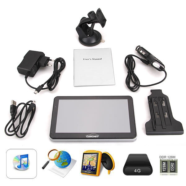 "Car 7"" Touch Screen GPS Navigation 128MB 8GB with Map"