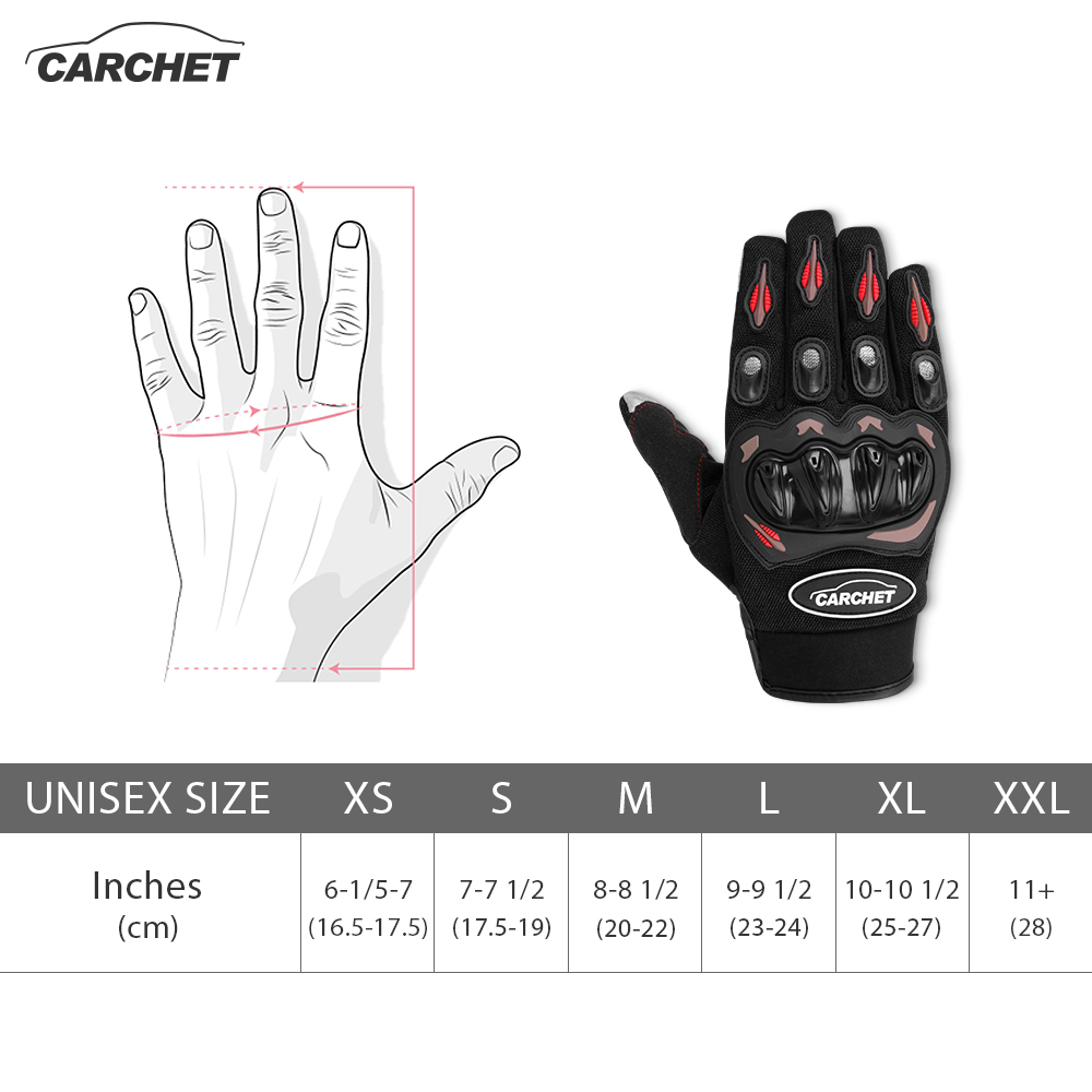 CARCHET Motorcycle Gloves Summer Black L