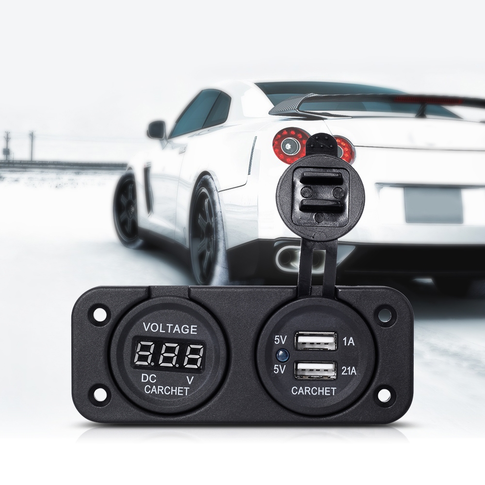 CARCHET Dual Car Cigarette Lighter USB Socket 12V with Voltm