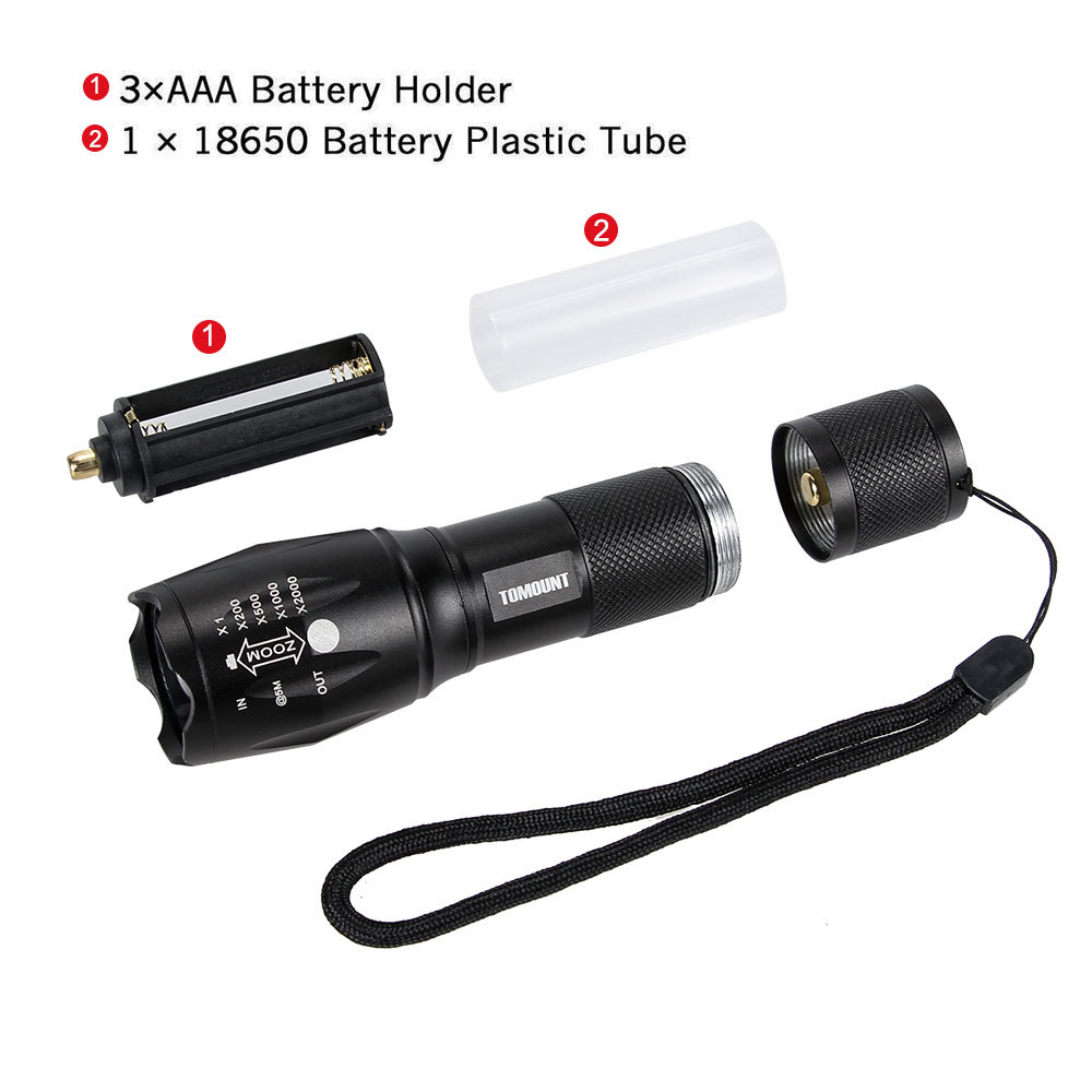 TOMOUNT bicycle light set (black front light + AAA battery b