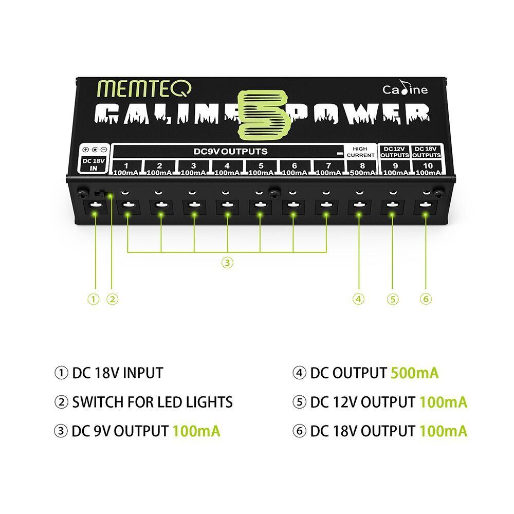Chitarra Pedal Power Supply - MEMTEQ 10 isolati di uscita DC