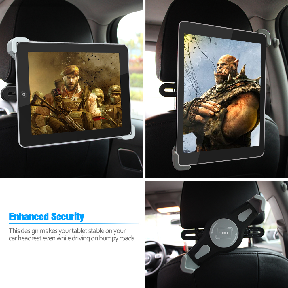 iPad Car Holder - MEMTEQ Tablet Headrest Car Mount Holder Ba