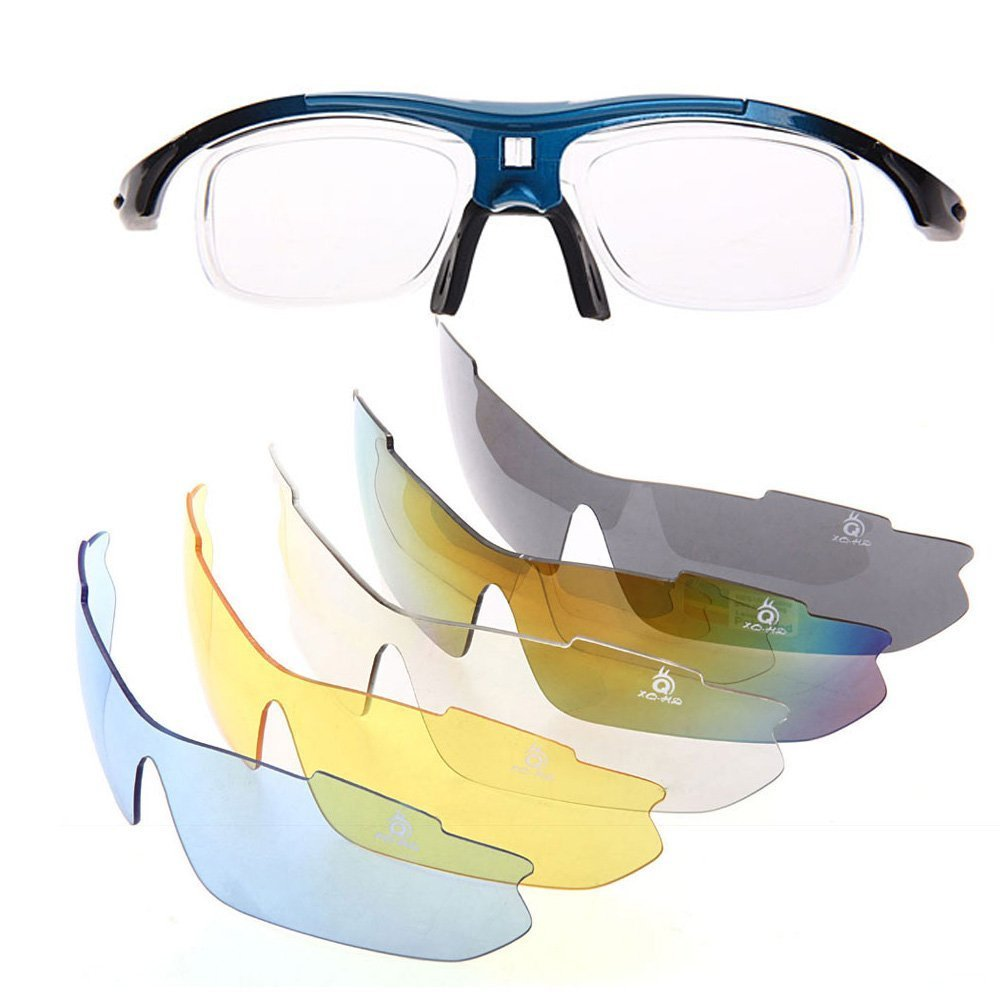 XQ-XQ Polarized UV Protection Sunglasses 5 Interchangeable L