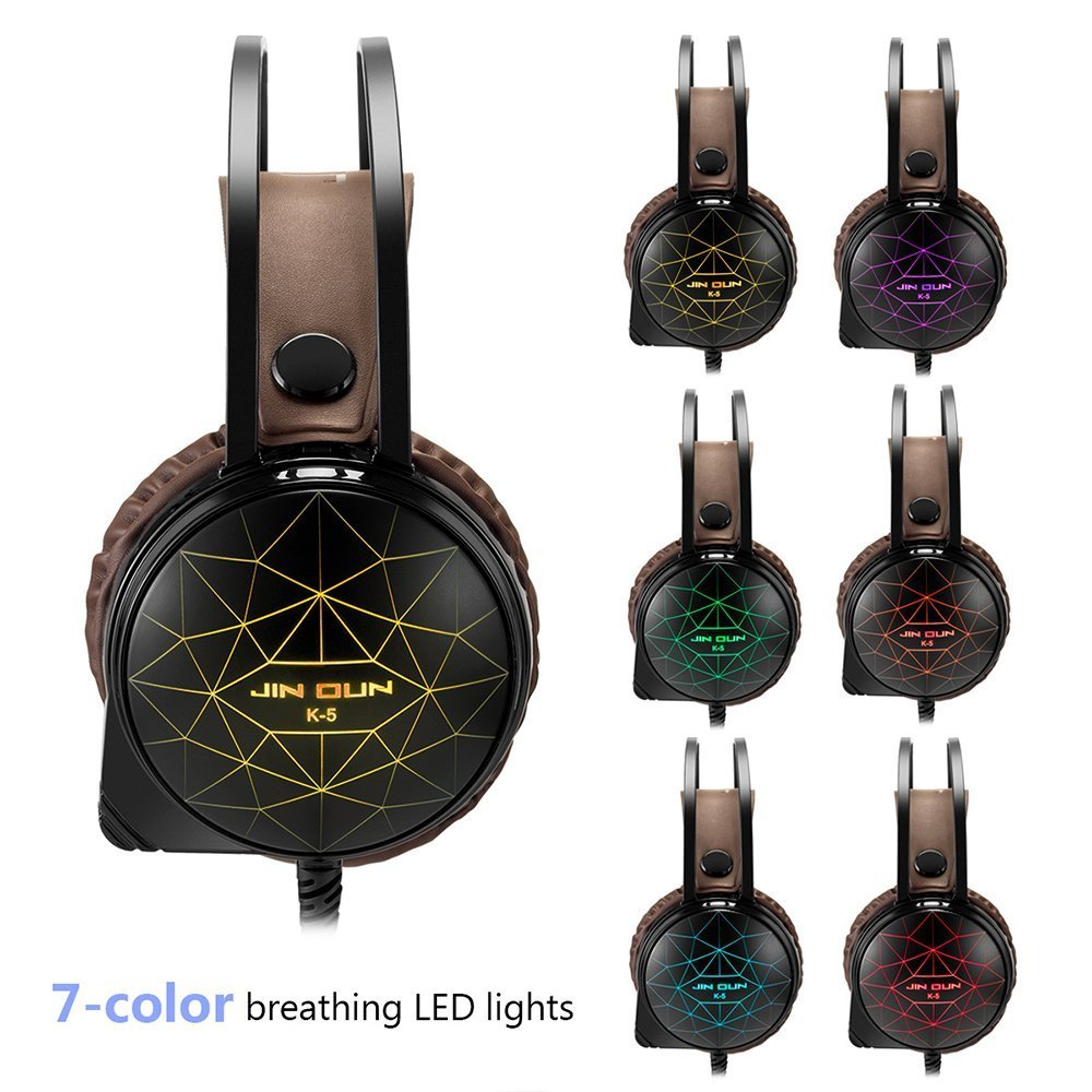 marsboy Gaming Headset with Microphone LED for Xbox One PS4