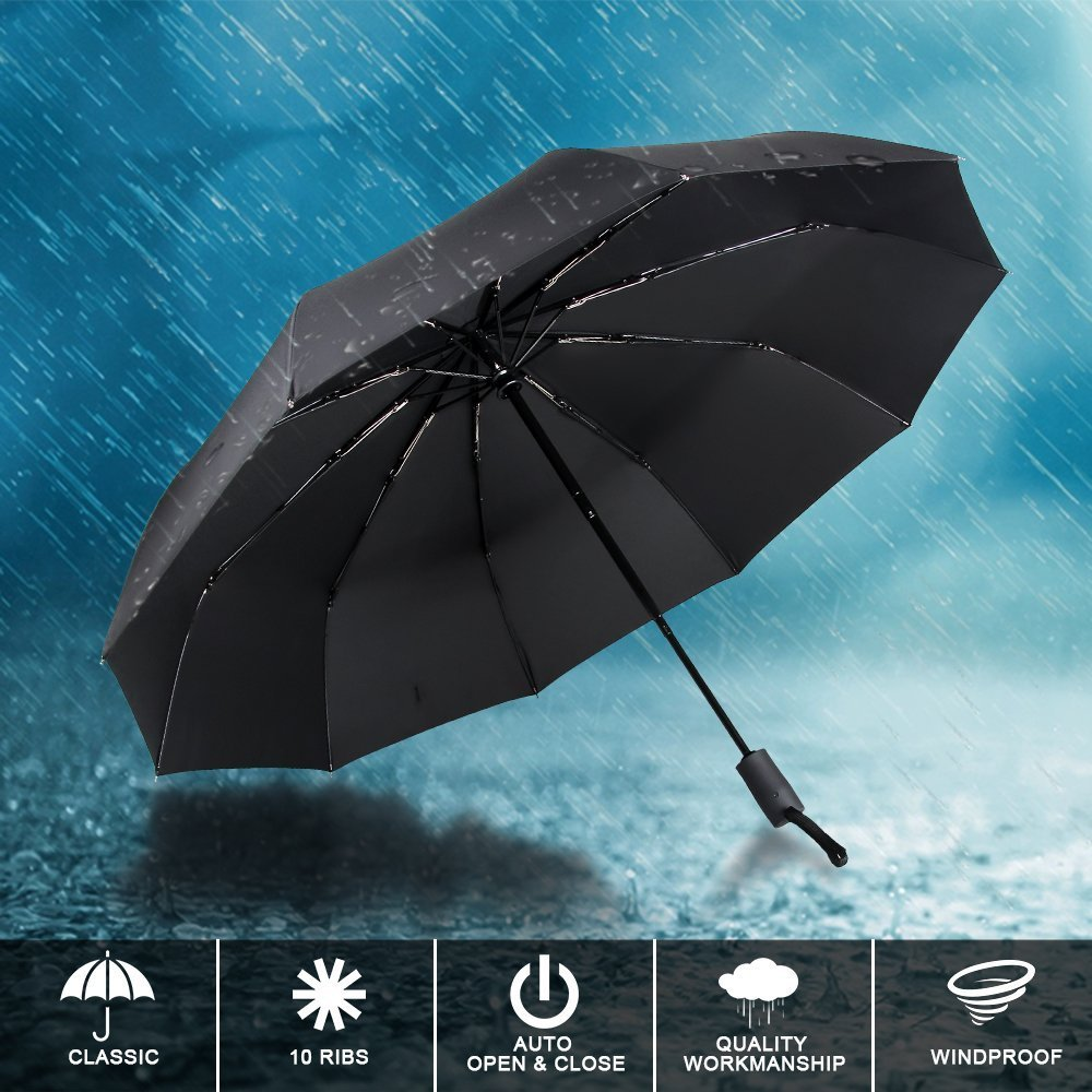 marsboy Windproof Automatic Travel Umbrella, 10 Ribs Auto Op