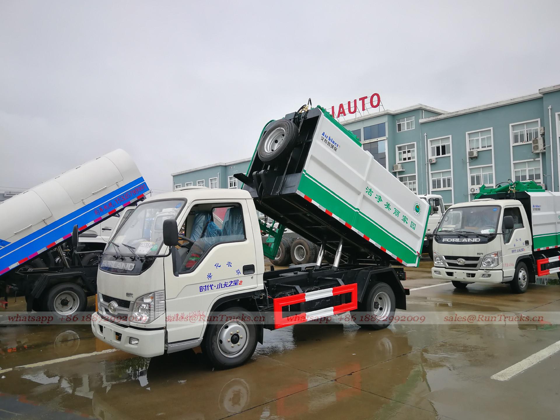 Çin Foton çöp kamyonu yan hidrolik kepçe kaldırma sistemi, F