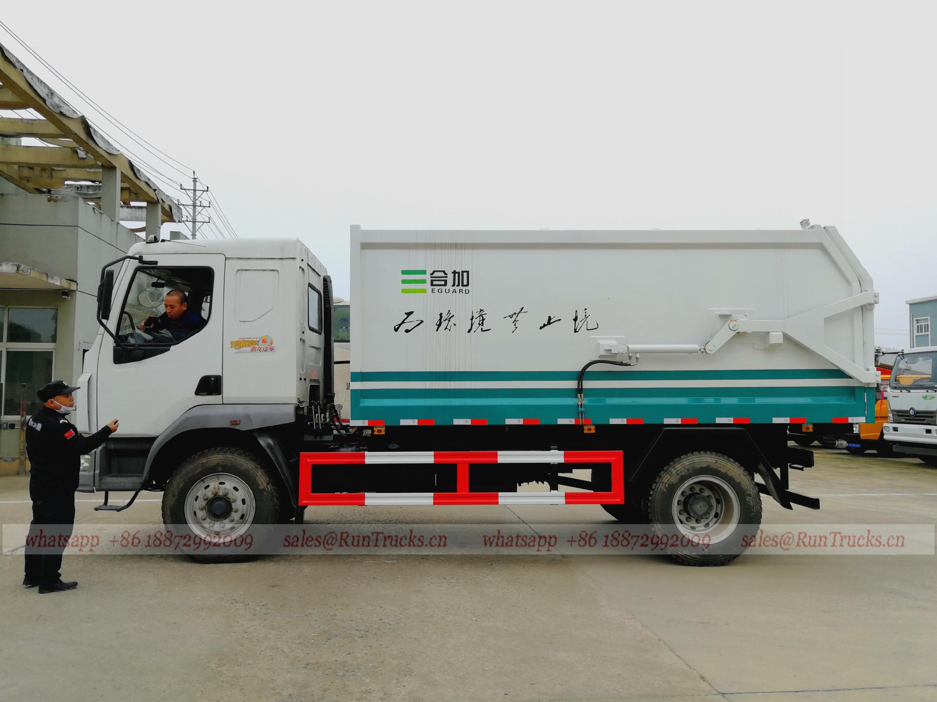 China Dongfeng 10cbm junta a tope tipo camión de basura
