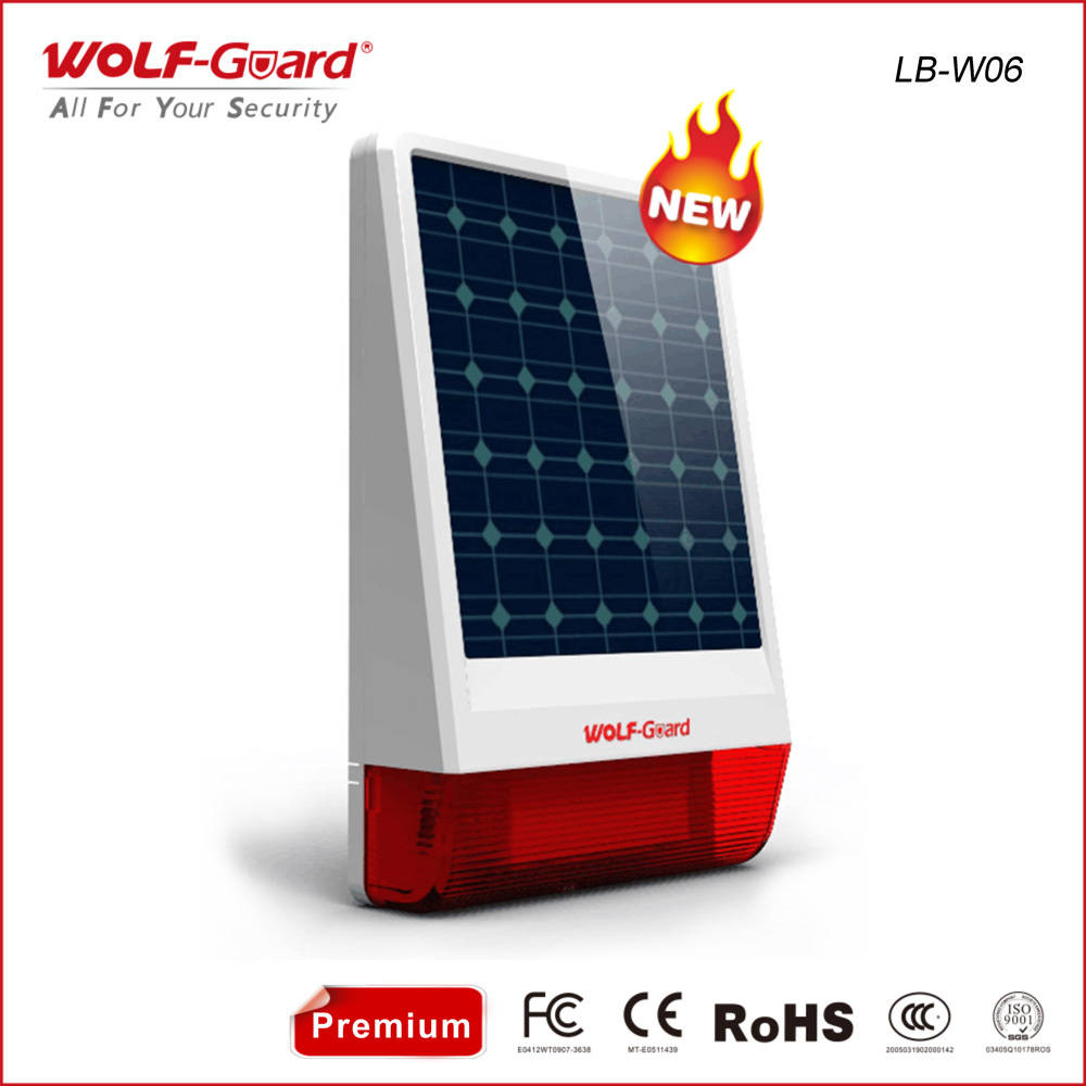 3.7V solar flash siren alarm,wireless solar siren alarm