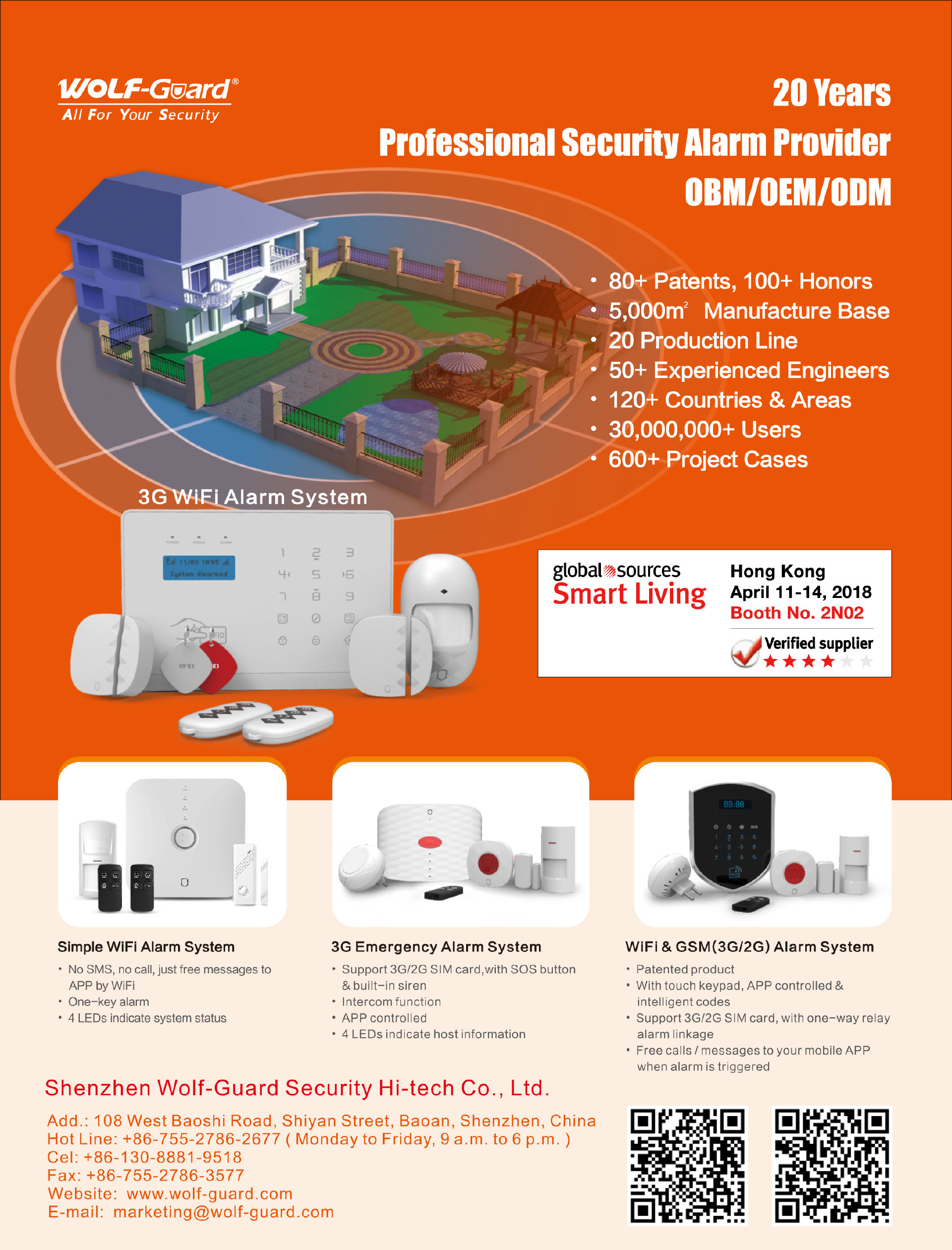 20 years OBM/OEM/ODM for Security Alarm Providing