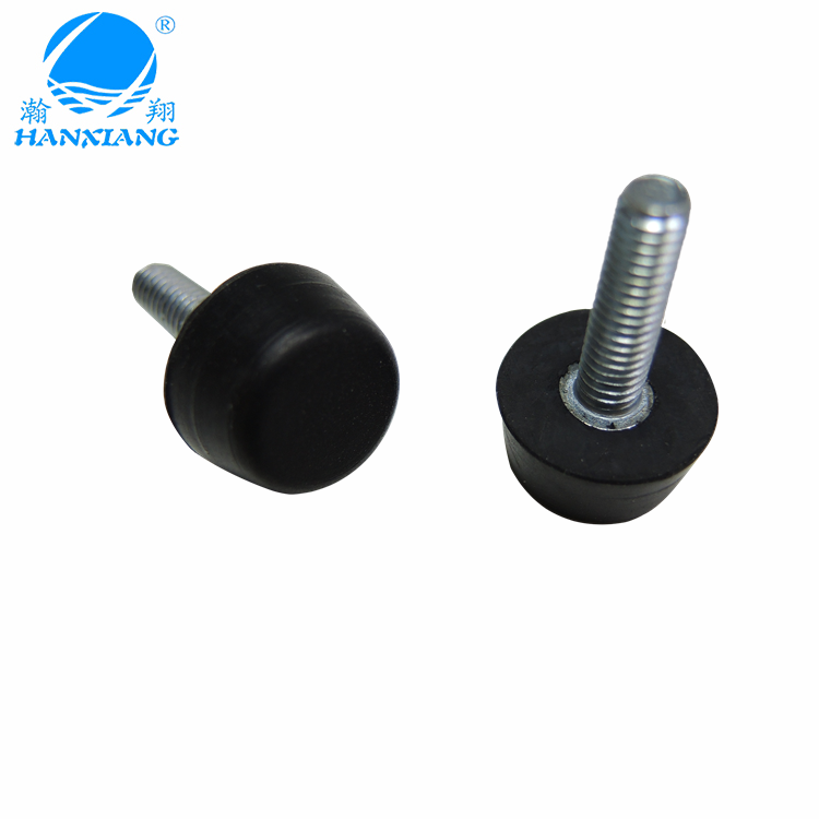 Rubber factory supply adjustable rubber level feet with meta