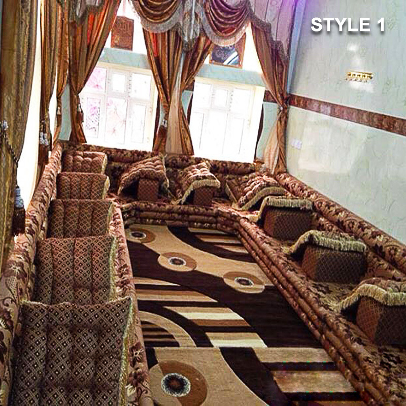 Style 1 Fabric Brown Color Arabic Majlis Sofa Floor Seating ...