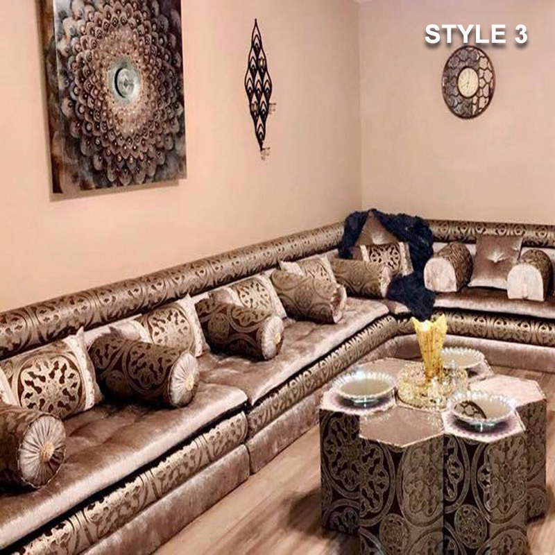 Style 3 Fabric Brown Color Arabic Majlis Sofa Floor