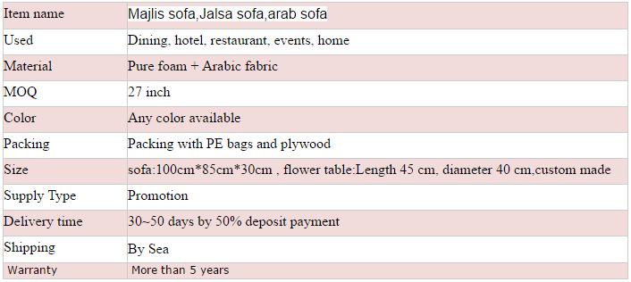 Style 4 oriental Arabic majlis sofa floor seating , Jalsa sofa
