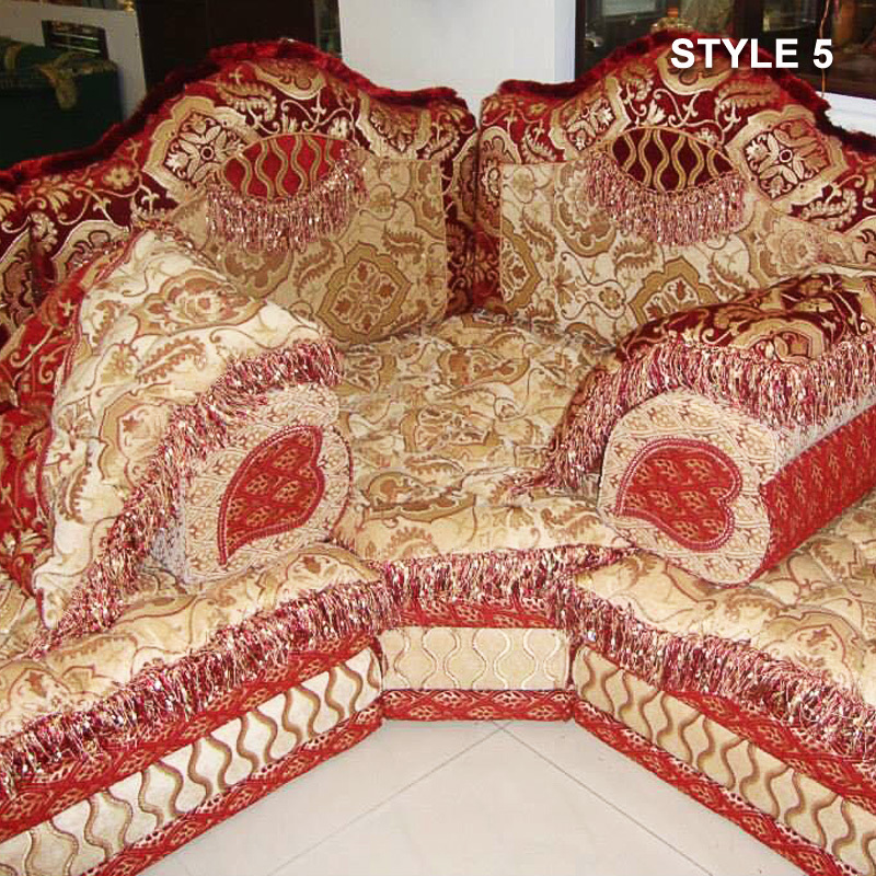 Etonnant Style 5 Fabric Red Color Arabic Majlis Sofa Floor Seating ...