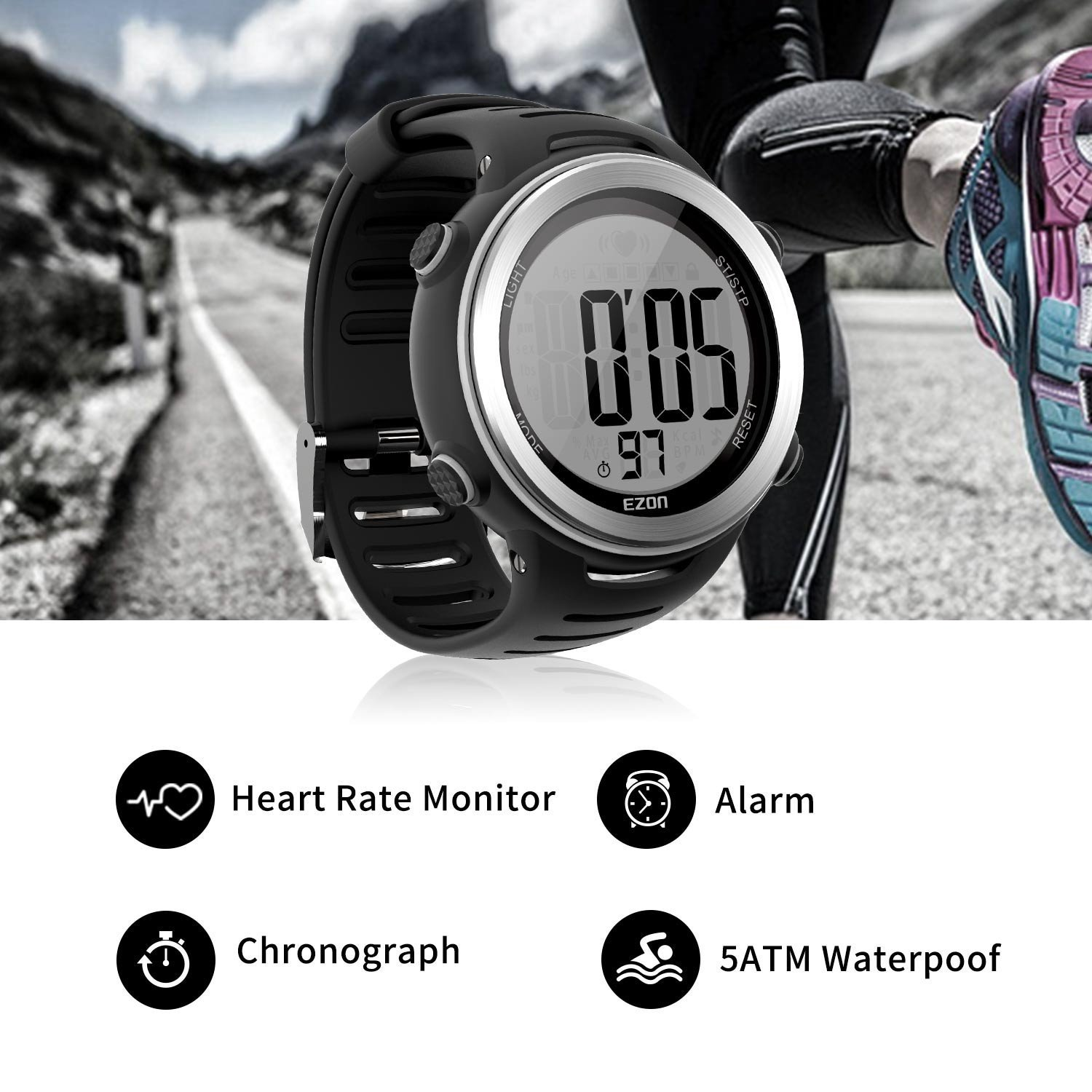 T007 Digital Heart Rate Monitor Sports Watch with Chest Stra