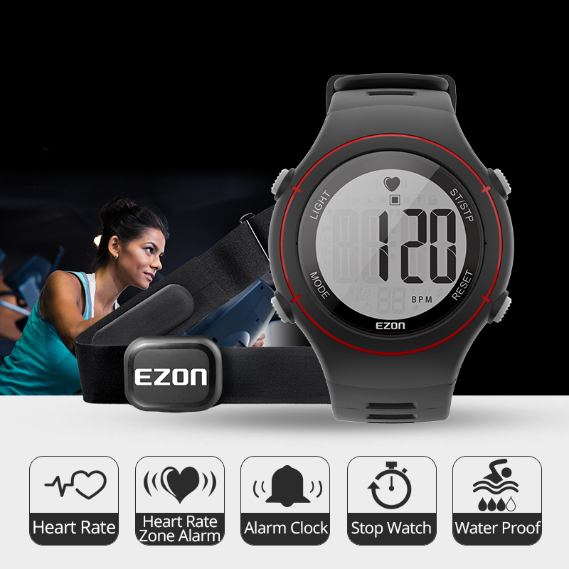 EZON Heart Rate Monitor Sports Watch with HRM Chest Strap,Wa