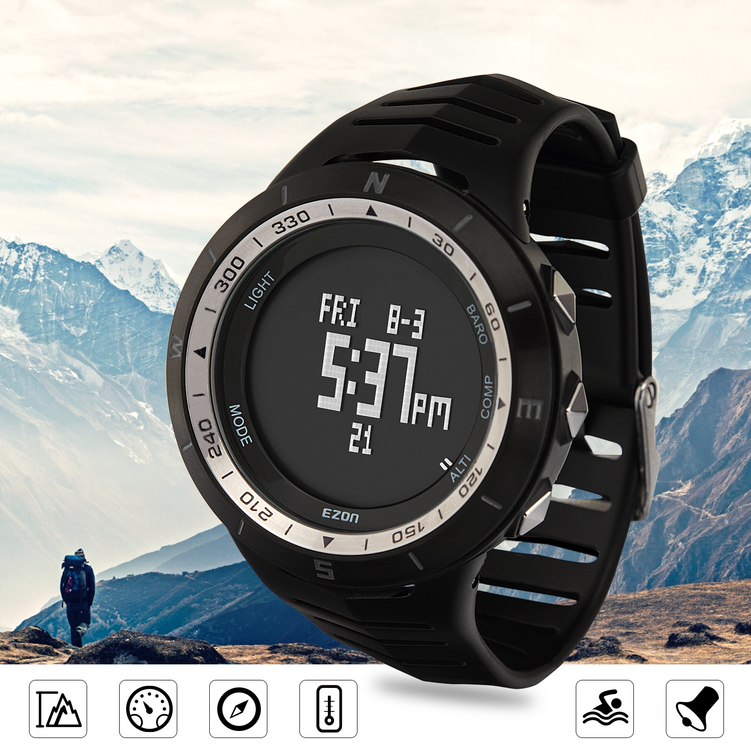 H005A01(Black) Multi-function Outdoor Mountaineering Watch