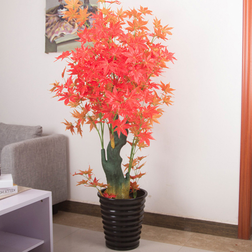Top Quality Artificial Bonsai Maple Tree Red with Orange For