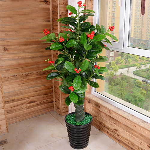 Artificial Plant Bonsai with Cherry Fruits For Home Decorati