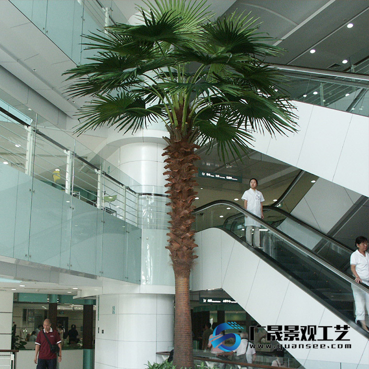 big artificial palm tree, real palm fibre indoor decorations