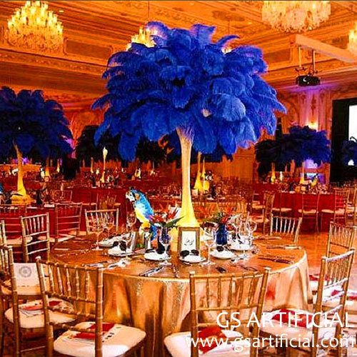 Royal blue ostrich feather centerpiece for wedding  banquet