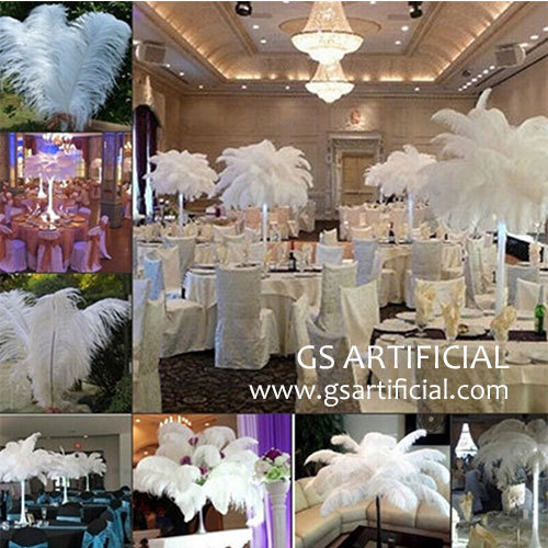 centerpieces natural ostrich feathers for wedding