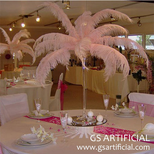 wedding table centerpiece white ostrich feather
