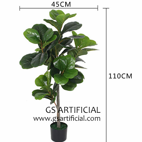 Artificial Ficus pandurata Hance green bonsai big leaves