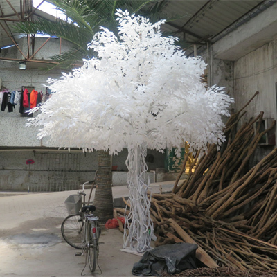 High simulation artificial banyan tree with white silk leave