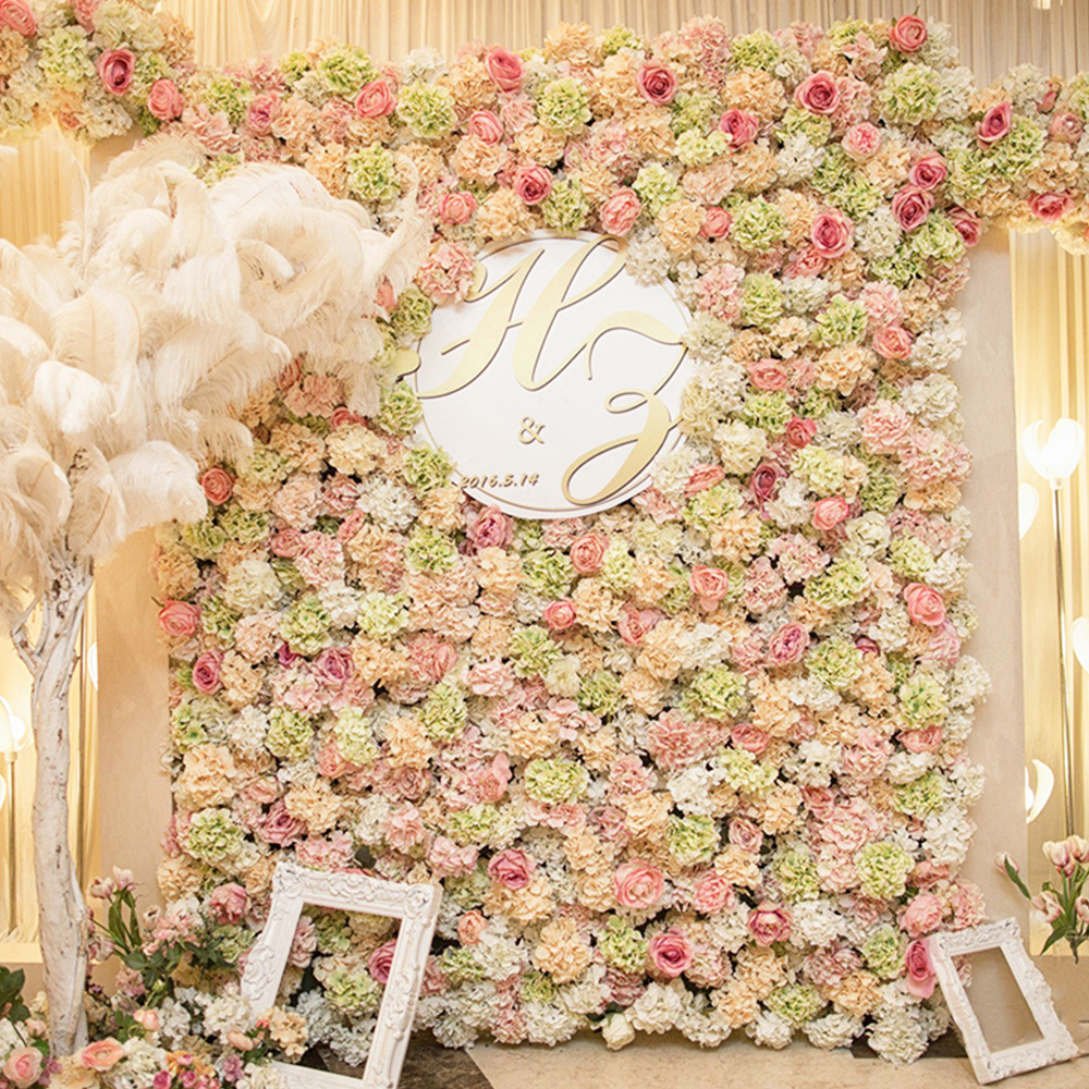 Artificial flowers wall for wedding decorations