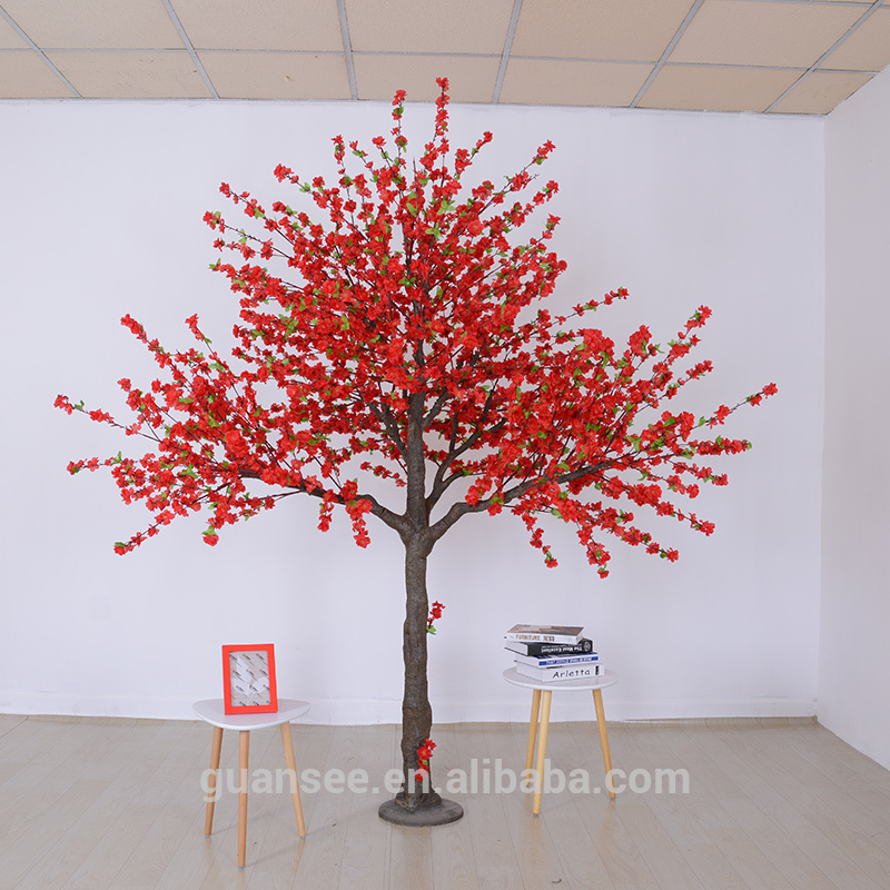 Artificial peach blossom tree red customized size