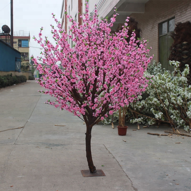 shopping mall decor silk flower pink artificial peach tree