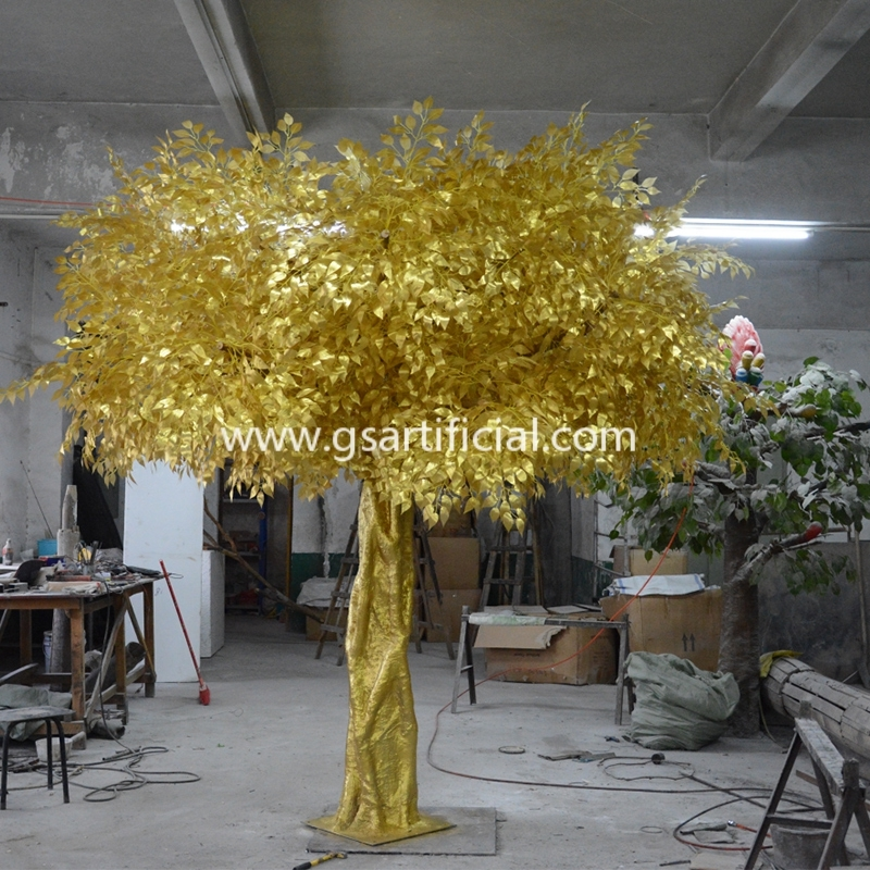 gold tree artificial tree outdoor  decorative ficus tree