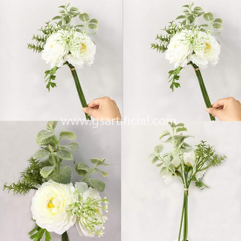 mixed design silk dried flower bunch for wedding decoration