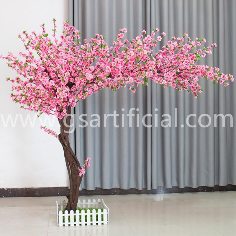 pink curved artificial peach blossom tree arch for home dec