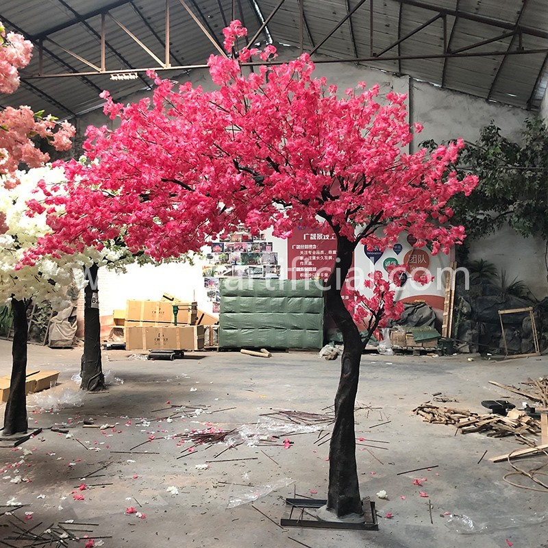 3.5m high plastic trunk red cherry blossom tree for wedding