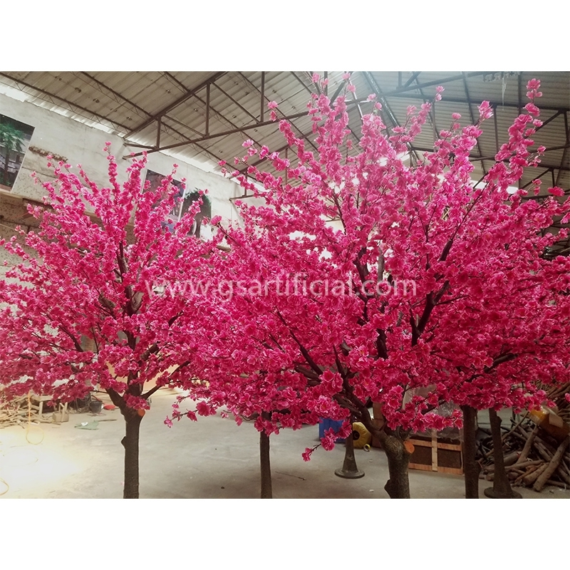plastic trunk peach blossom tree for wedding decoration