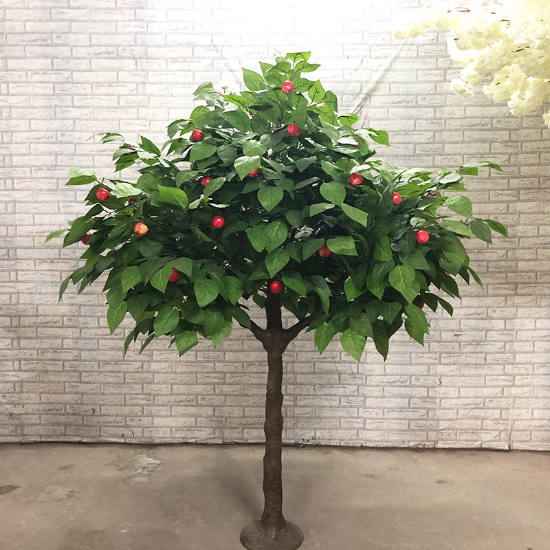 home decor plastic green plants artificial mini apple tree