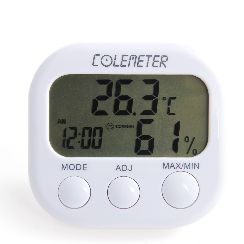 Colemeter Za04 Clock Lcd Digital Hygrometer Humidity Thermometer Thermom
