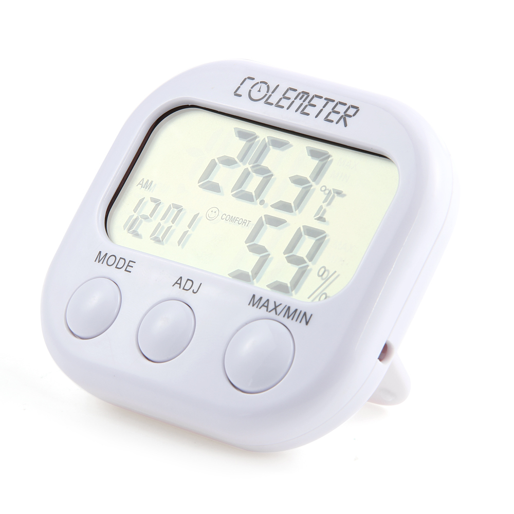 COLEMETER ZA04 Clock LCD Digital Hygrometer Humidity Thermom