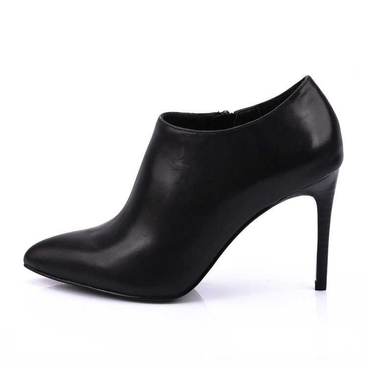 Baby Cow Leather Pointed Heeled Ankle Boots Shoes Women
