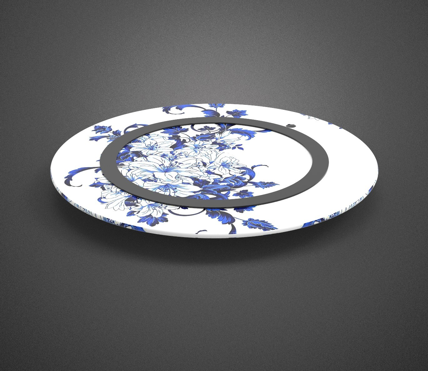 Chinese style blue and white porcelain pattern wireless char