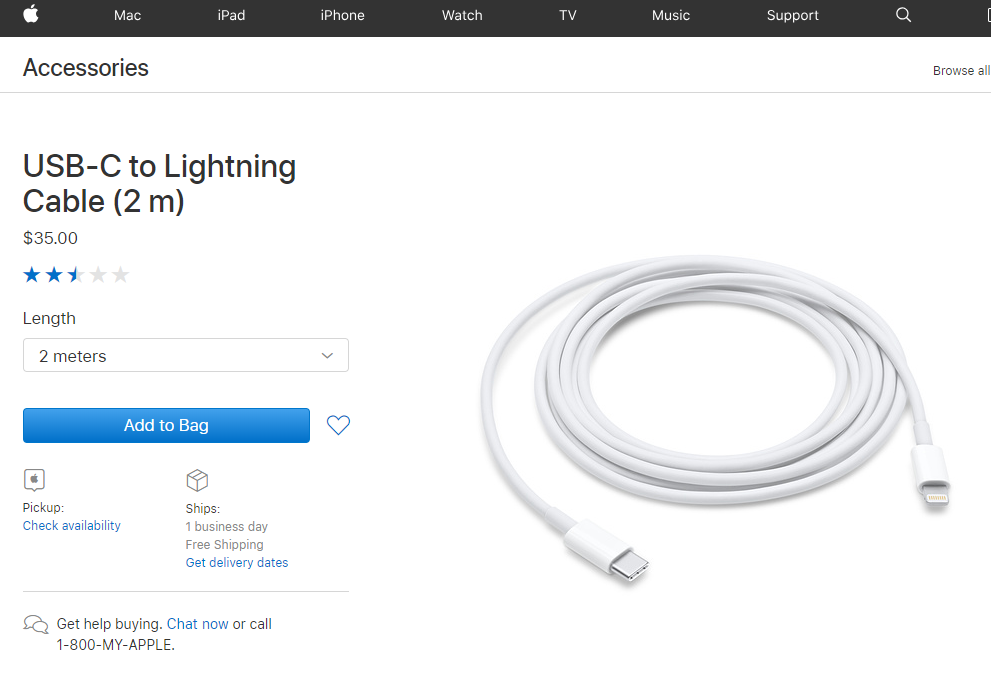 USB-C to Lightning cable proceed with MFi certificate