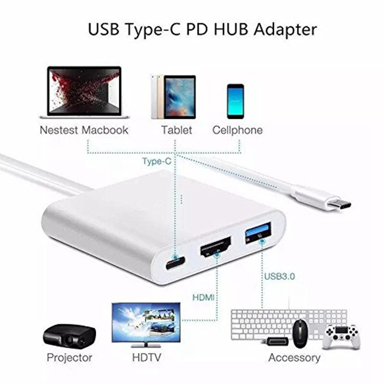 3-in-1 type-c hub type-c to HDMI adapter for macbook