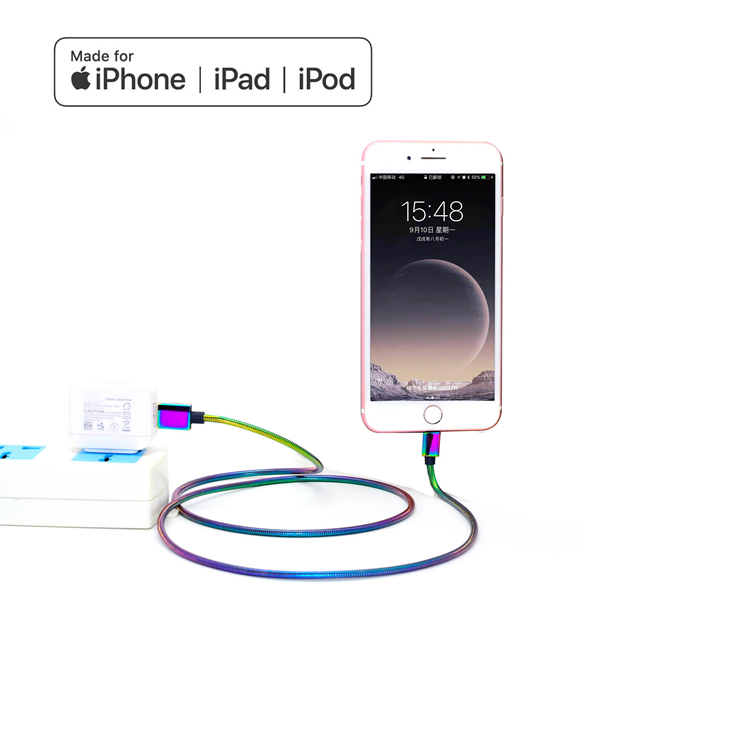 Dazzling Metal soft spring MFi certified Lightning cable