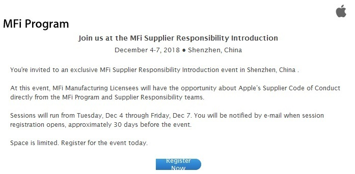 Apple Will Hold MFi Supplier Conference in Shenzhen in Decem