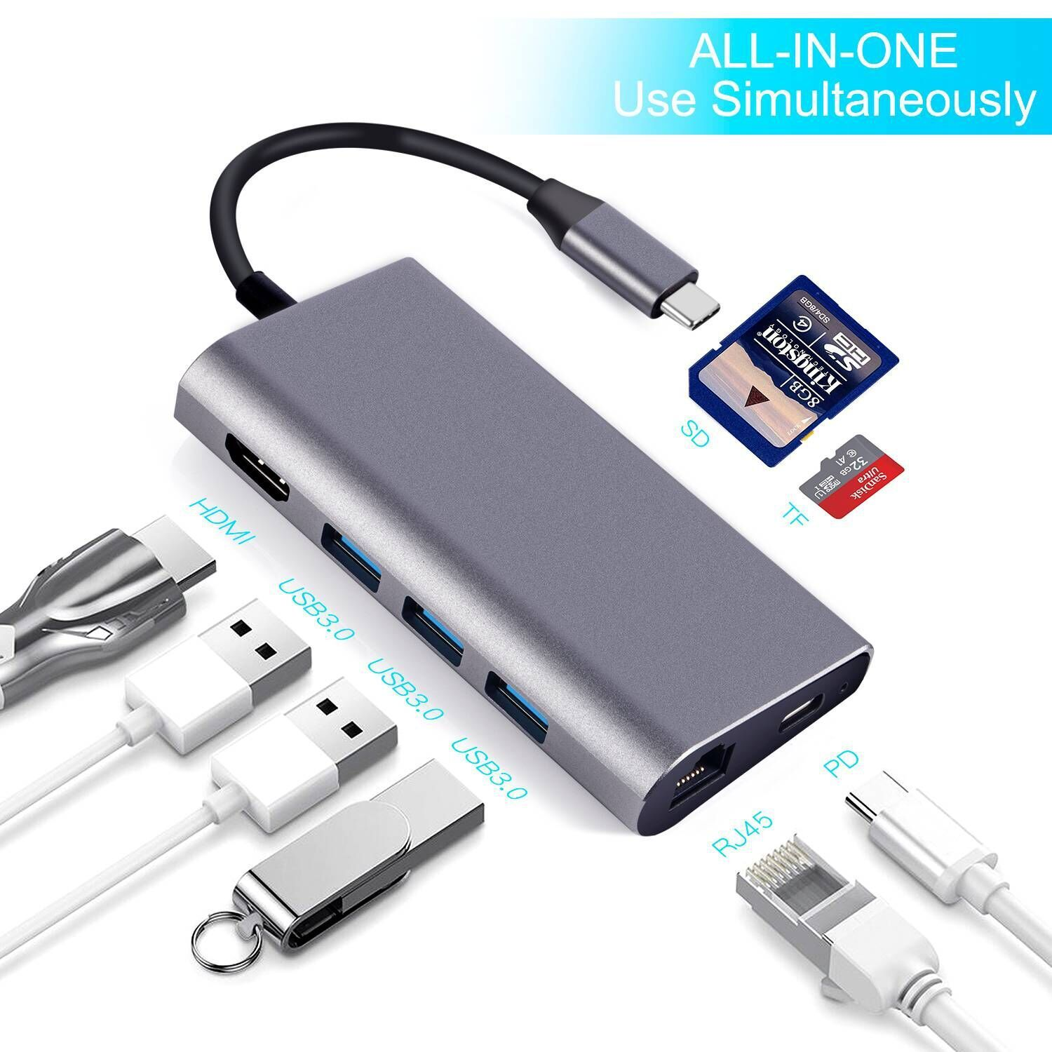 8 in 1 USB-Hubs Typ C Adapter mit 4K HDMI